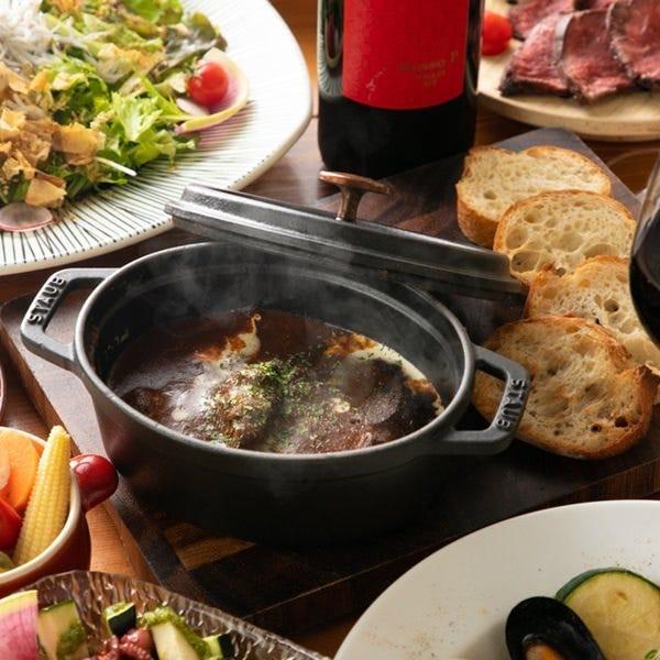 牛タンと牛スジの赤ワイン煮込み