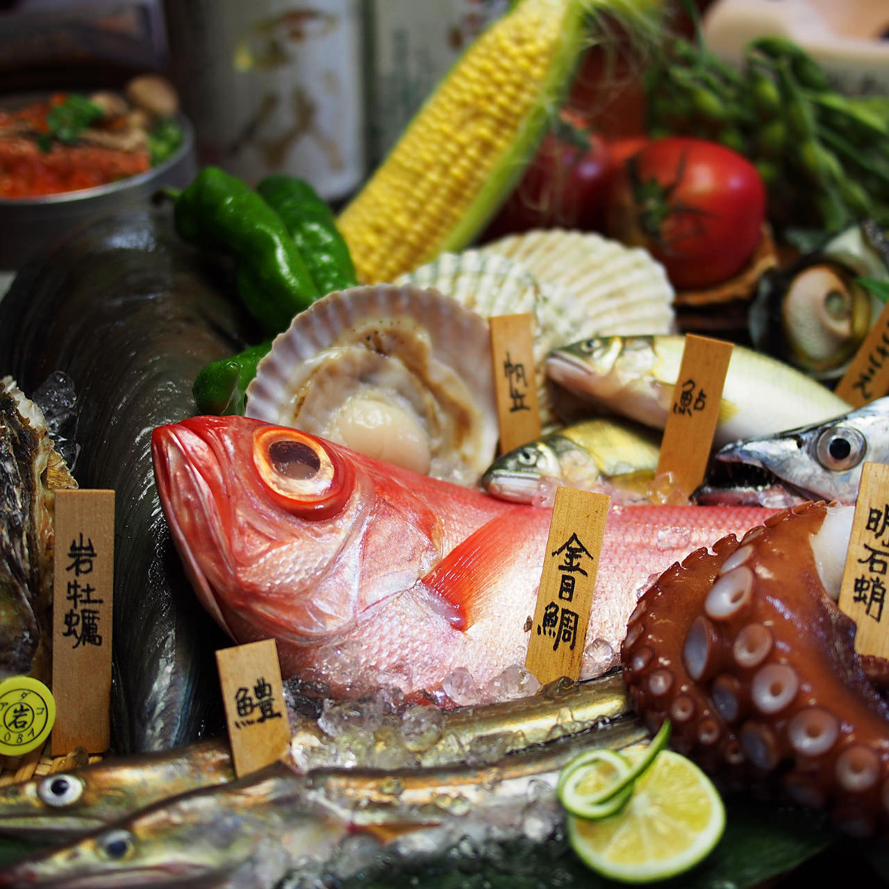 瀬戸内の海でとれた新鮮魚介が集結