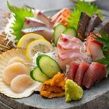 コースでは瀬戸内の海でとれた鮮魚をお造りで満喫