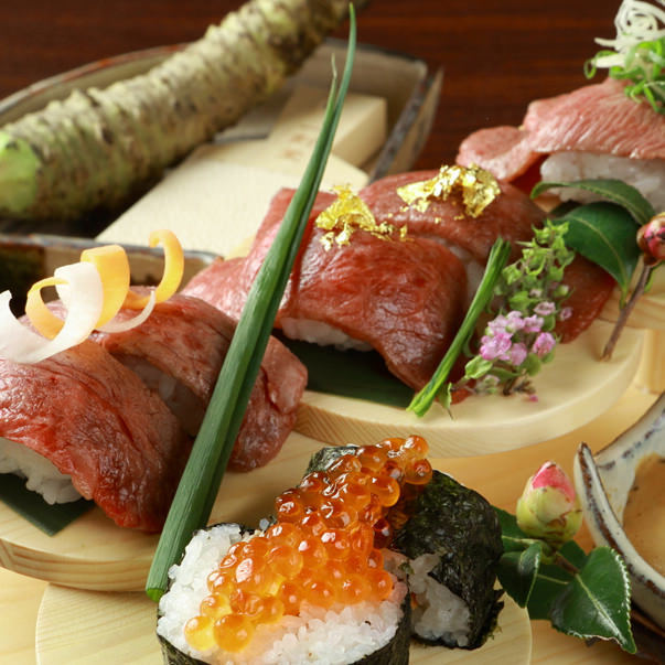 名物近江肉寿司、牛タンしゃぶしゃぶもコースで食べられます
