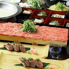 これが坐空のスタンダード!『近江肉寿司+濃厚白湯の牛タンしゃぶしゃぶコース』黒毛和牛ローストビーフ付