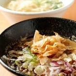 〆のらーめんは鶏白湯スープで濃厚★(塩と醤油の2種類)