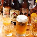飲み放題は自慢のハイボール他、生ビール、瓶ビール、日本酒、焼酎など多彩にご用意