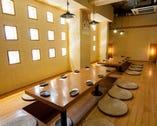 宴会に最適の個室・半個室は40名ま でOK!大型モニターも完備です!
