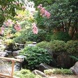 端正な庭と池に茶室のある数奇屋造りの落ち着いた雰囲気で
