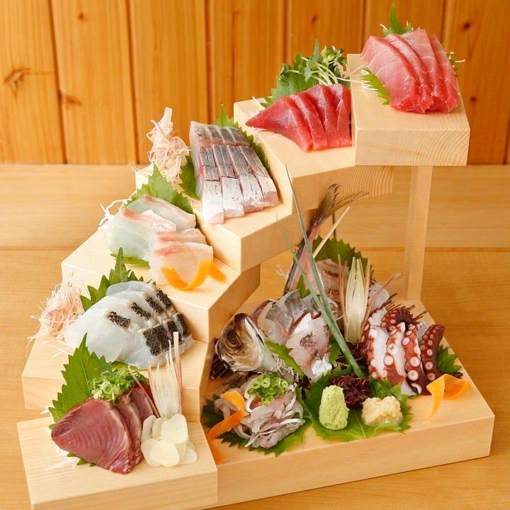 【2時間飲み放題付】期間限定!鮮魚の階段盛り付!リーズナブルにご宴会!お得宴会コース〈全6品〉