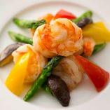 車海老と季節野菜の炒め
