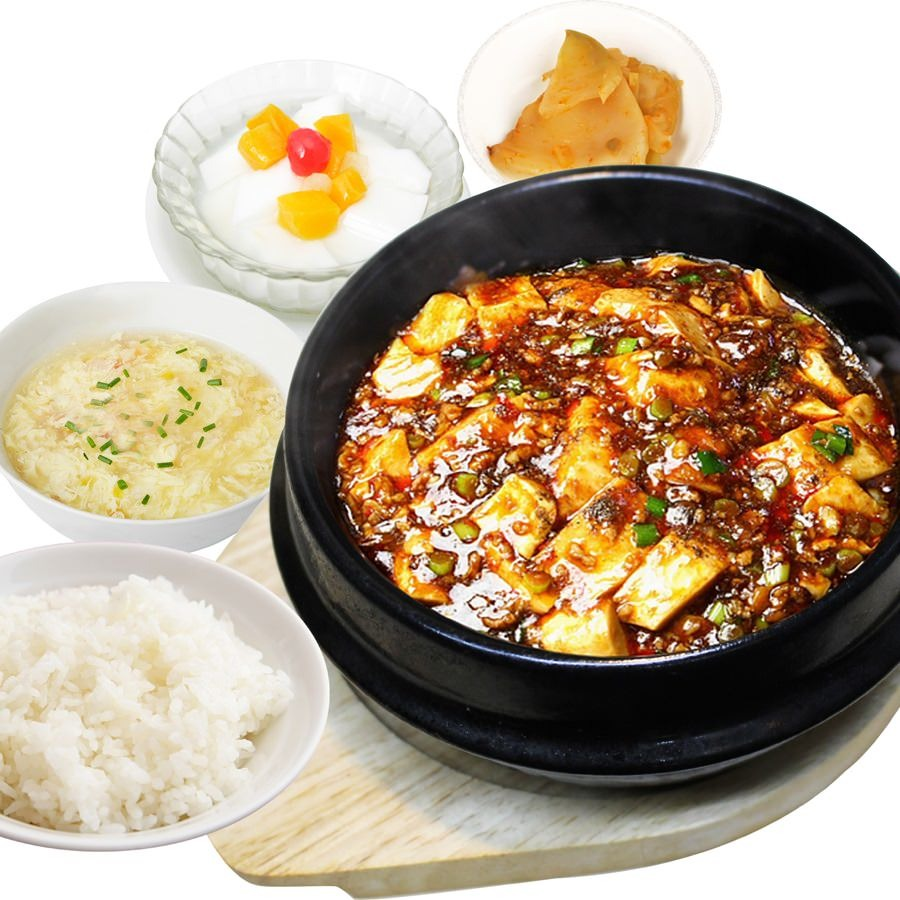 当店人気NO.1の石焼麻婆定食、熱々の状態でご提供致します!
