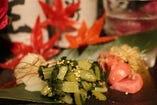 漬物盛り合わせ!3種類のつけものを味わえます。べったら漬け、野沢菜、ゆきんこ!焼酎との相性○480円 (税込518円)