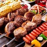 ブラジルスタイルBBQのシュラスコも食べ放題で楽しめます!
