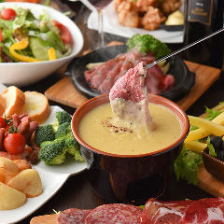 【肉×チーズ】3時間飲み放題付「本格シュラスコ×チーズフォンデュ食べ放題」4280円→3600円