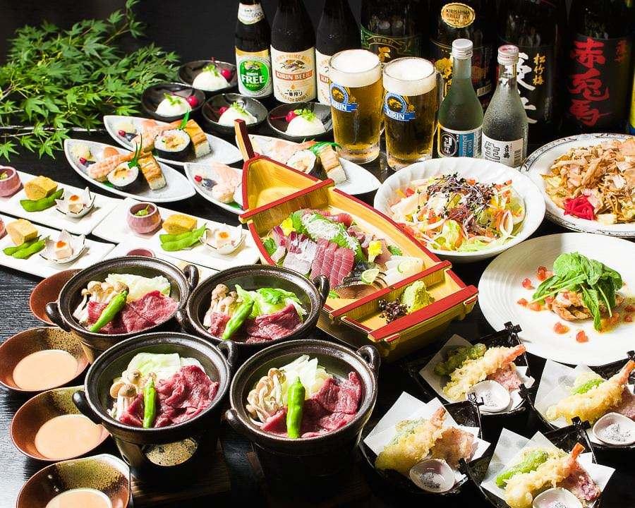 握りや天ぷら小鍋など充実メニューのコース「上々おまかせコース」《飲み放題付》5,000円