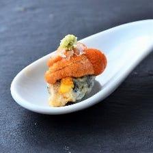 うにの天ぷら わさびとイギリス産海塩