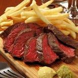 牛サガリの炭火焼きステーキ フライドポテト添え