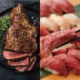 【贅沢に!】3時間飲み放題付「肉寿司4種&ステーキ3種食べ放題」【4280円→3280円】