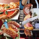 【豪快に!】3時間飲み放題付「シュラスコ10種&肉寿司&ピザ含む全28品食べ放題」【3980円】