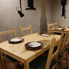 お洒落な雰囲気漂うテーブル席個室