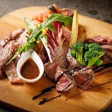 国産牛肉の3種盛り 国産もも肉,サーロイン,カツレツetc…