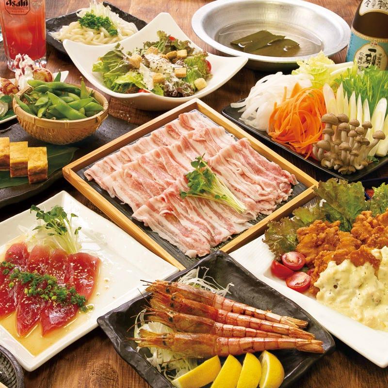 新年会!にピッタリ雪室熟成豚のしゃぶしゃぶメインの3980円!