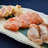福岡から直送した一粒一粒が大きい明太子。生や天ぷらでどうぞ。
