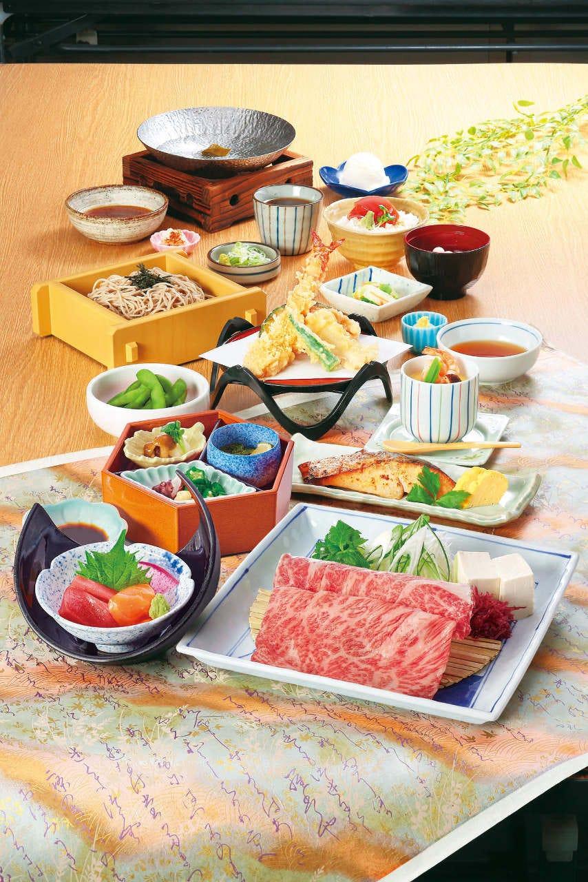 宮崎牛しゃぶしゃぶや当店自慢のざるそばなど嵯峨味の料理を存分に楽しめる『嵯峨味 松コース』
