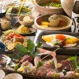 鮮魚刺身盛合せ、生うにオムレツのコース<全8品>5,000円(税込)