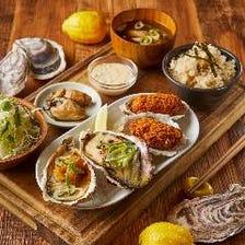 焼き牡蠣、牡蠣フライ食べ比べランチセット