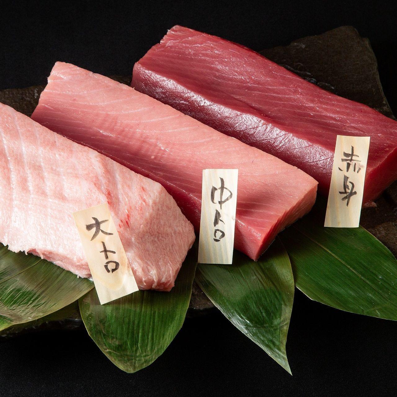 本鮪の食べ比べ。刺身盛りや握り寿司をご用意いたします。