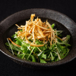 水菜と蒸し鶏のハリハリサラダ