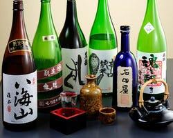 純米酒は約30種、飲み放題にも純米酒が加わりました!!