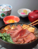 牛ロース肉すきやき定食【国産牛ロース肉】