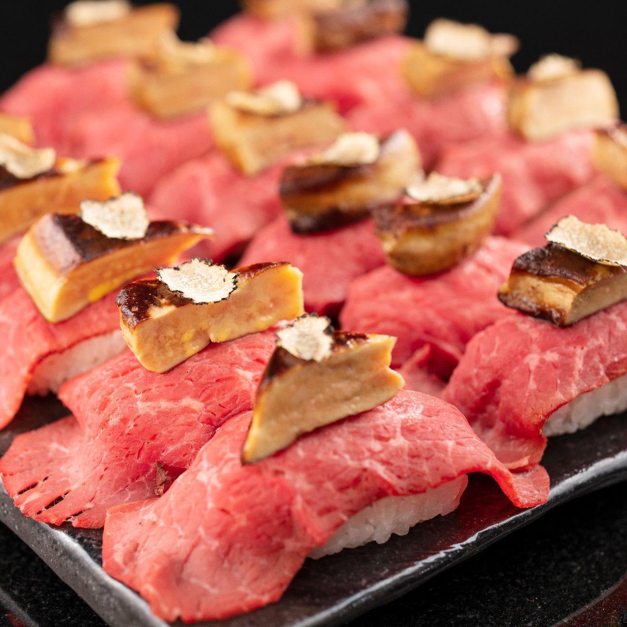 豪華食材を贅沢に使用したフォアグラ&トリュフ肉寿司が食べ放題