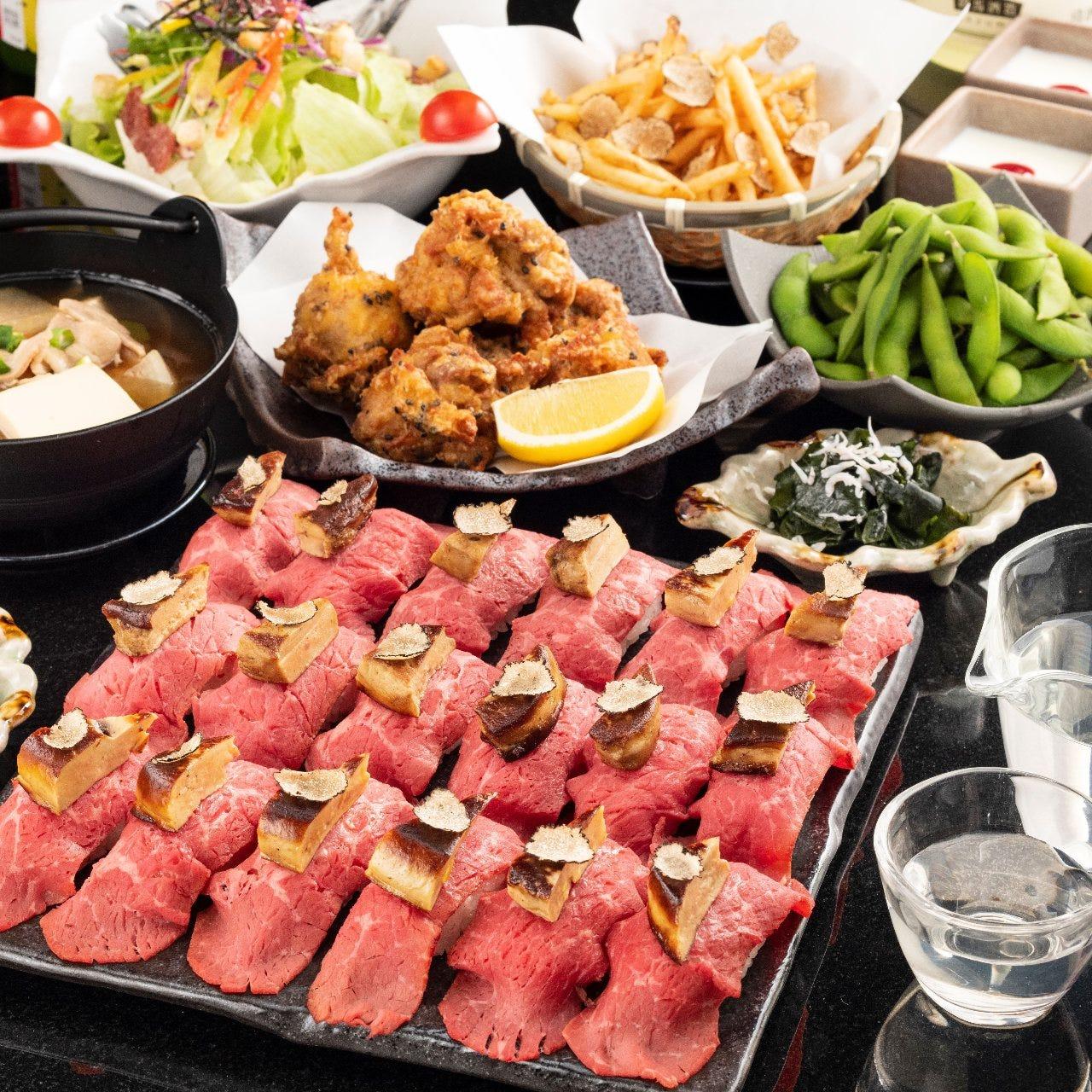 心ゆくまで贅を尽くした肉寿司食べ放題をご堪能ください。