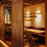 障子で仕切られた半個室は、木製の床にウッドテーブルと和のぬくもりがたっぷり感じられる空間。