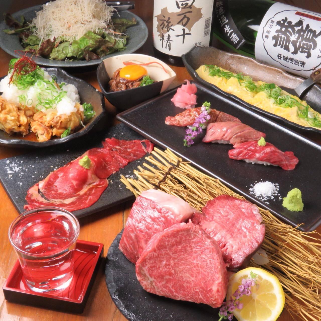 大人気のステーキと肉寿司が付いたコースあります。