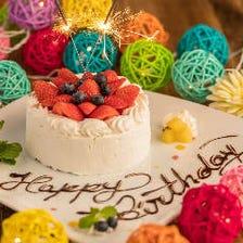 誕生日記念日にデザートプレート無料
