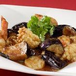 四川風茄子と海鮮のピリ辛炒め
