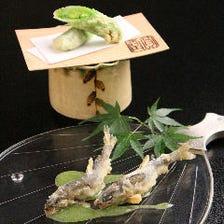 【お昼限定ご奉仕コース】ちょっと贅沢なランチに 五感で楽しむ季節の天ぷらを『百福』全17品