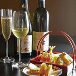 ソムリエ厳選のワインと天ぷらのマリアージュをご堪能ください