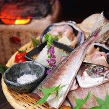 【2時間飲み放題付】天然鮮魚/名物七輪焼き/選べるごはん『灯-AKARI-コース』<全10品>