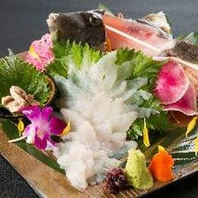 糸島の活魚 & 呼子ヤリイカ活き造り