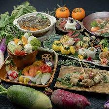 三成 -MITSUNARI- 近江野菜と伊賀忍豚の肉巻き野菜串コース《近江野菜サラダ食べ放題》