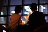 【記念日テーブル席 2名様】名古屋の夜景を一望、2人だけの時間を過ごす特等席