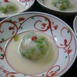 揚物 新小芋と枝豆饅頭 鯛スープの餡 初夏