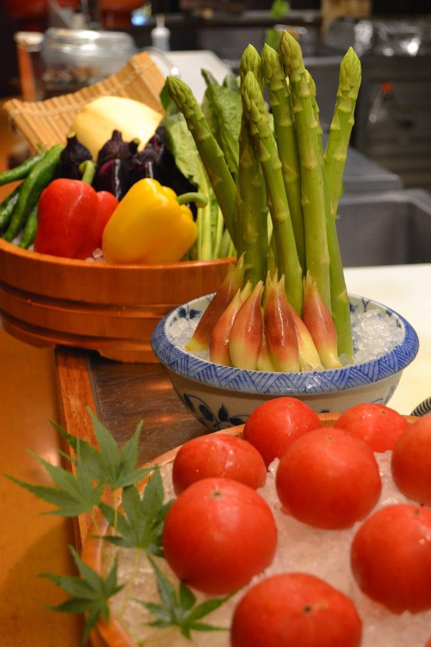 こだわりの自家栽培の野菜