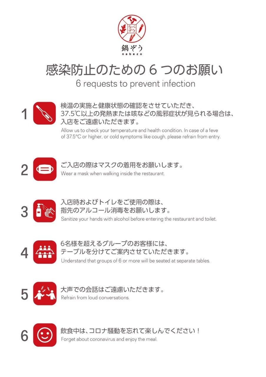 感染防止のための6つのお願い