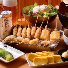 【得々コース/大阪名物土手焼き、厳選串かつ7種、大鍋肉吸い/全11品+120分飲み放題】3,500円|