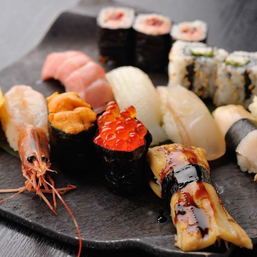 【宴会最適】旬海鮮「刺・焼・揚」とお寿司のフルコース!プレミアム飲み放題付◆お一人様8,500円税抜