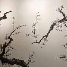 壁一面に描かれた水墨画