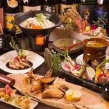 【期間限定コース】日本海鮮魚三点盛り、牛サーロイン炭火焼など9品+2時間飲み放題5,000円!